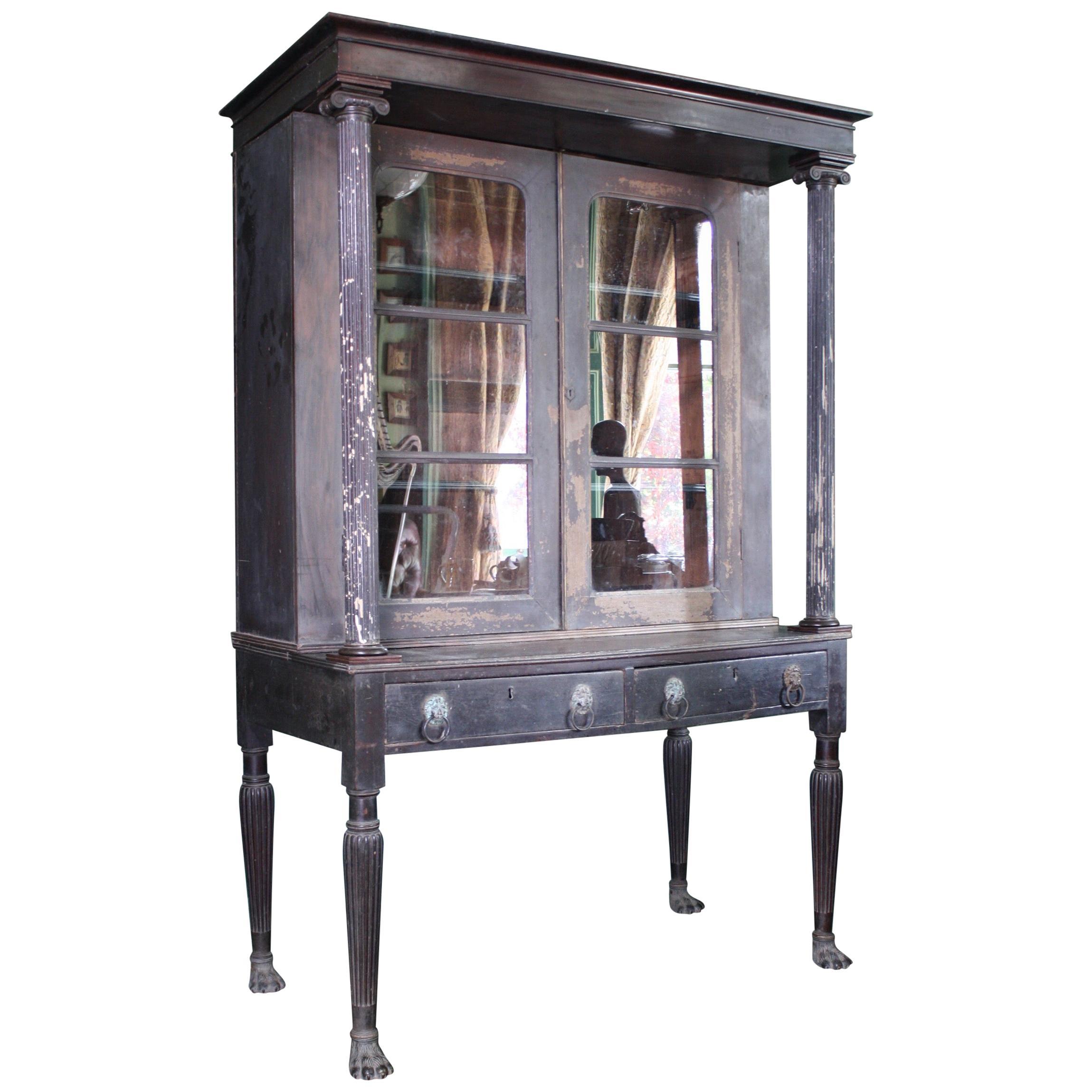 18th-19th Century Neoclassical Colonial Padauk Glazed Ebonized Book Case
