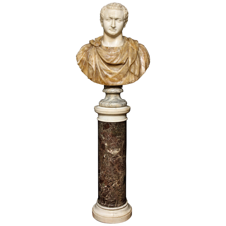 18th-19th Century Neoclassical Multi-Marble Bust of Roman Emperor Titus Domitian