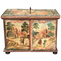 18th-19th Century Paint Decorated Continental Fitted Box