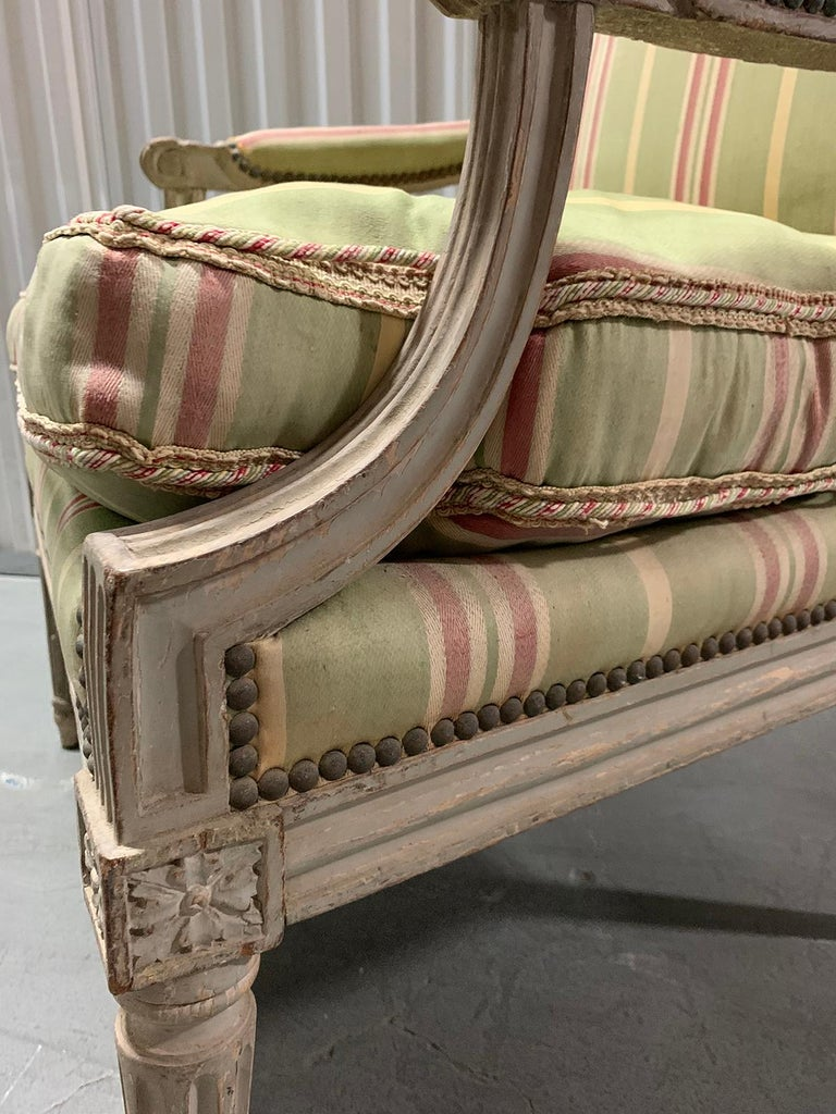 18th-19th Century Painted Louis XVI Style Armchair For Sale 8