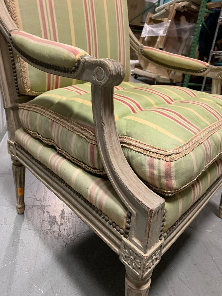18th-19th Century Painted Louis XVI Style Armchair For Sale 3