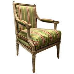 18th-19th Century Painted Louis XVI Style Armchair with Finials