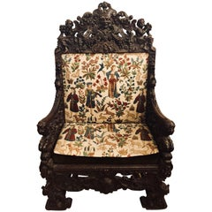 18th-19th Century Palatial Carved Throne or Armchair Manner of Horner Brothers