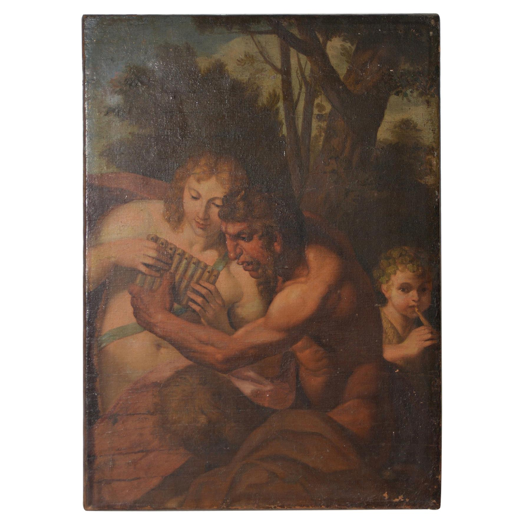 """18th-19th Century """"Pan's Conquest of Selene"""" Original Oil Painting"""
