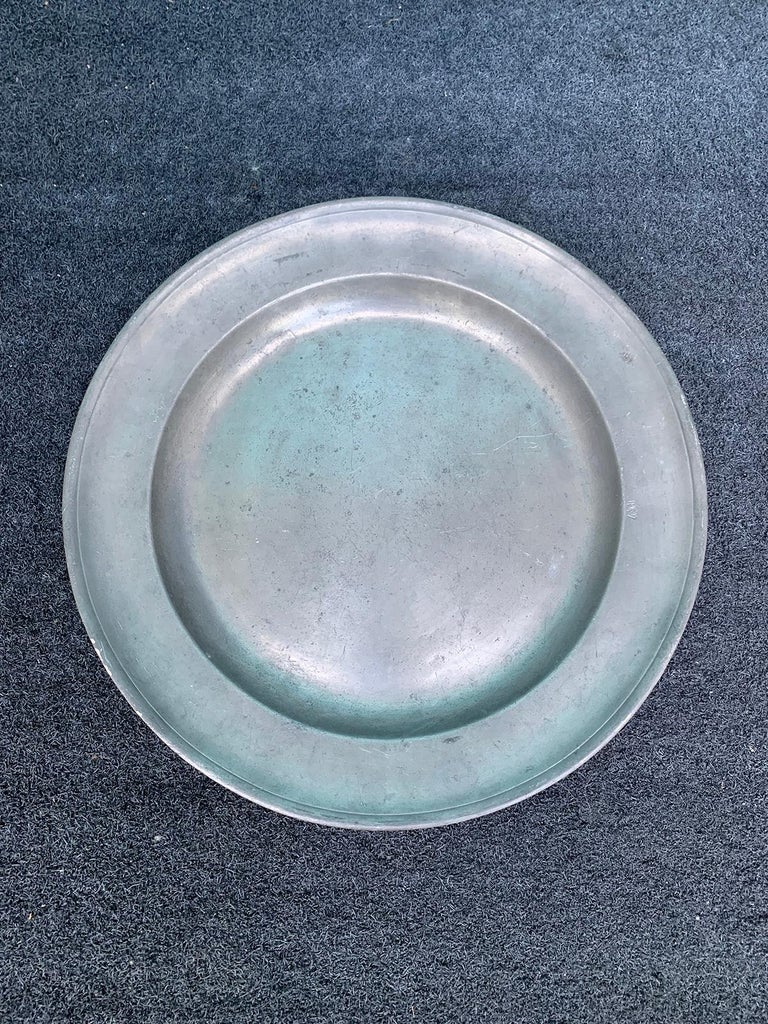 18th-19th century pewter charger.