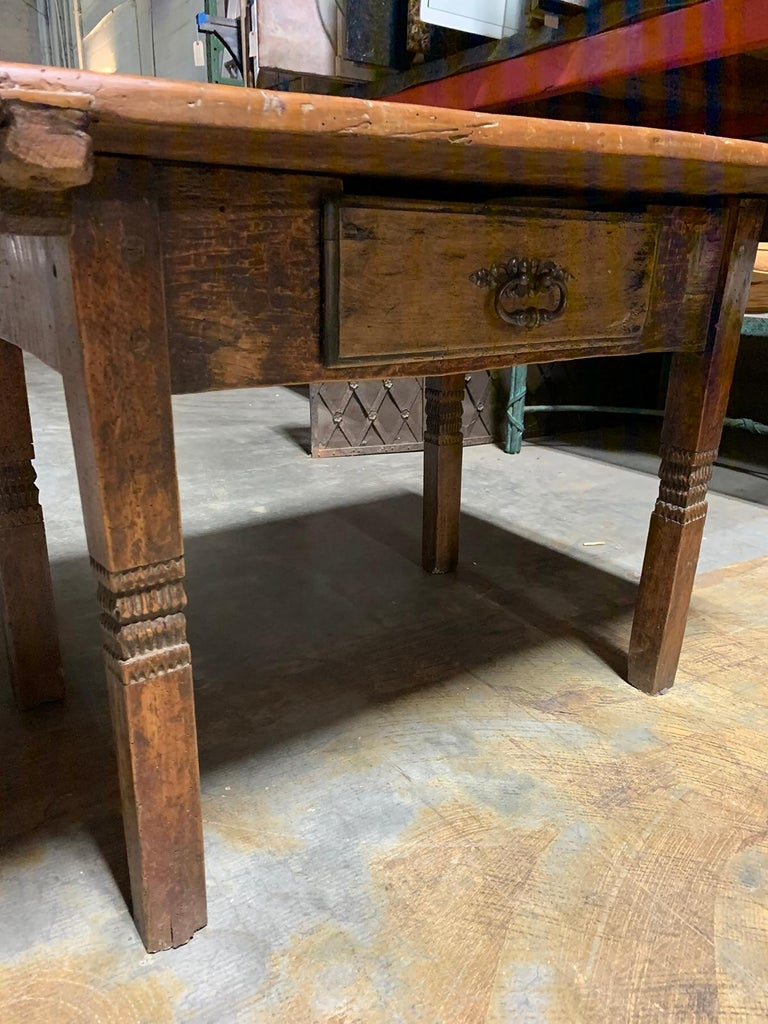 18th-19th Century Primitive Table, Probably French, One Drawer For Sale 5