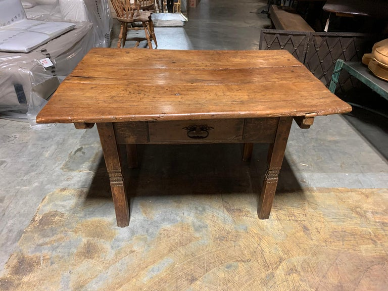 18th-19th Century Primitive Table, Probably French, One Drawer For Sale 8