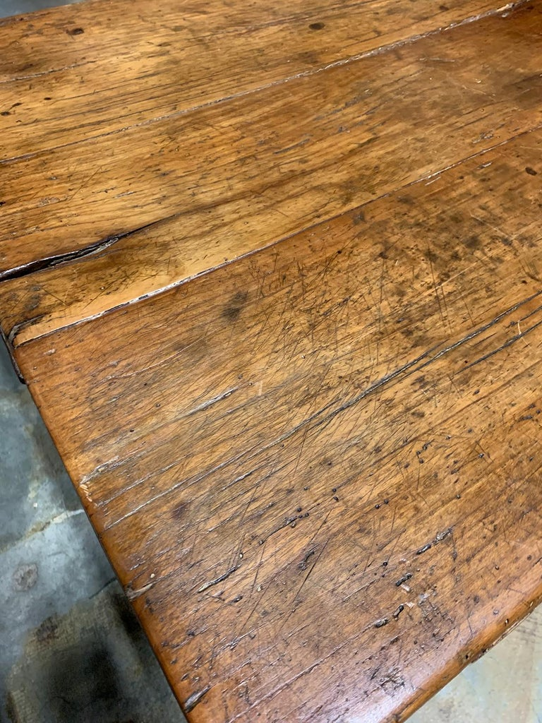 18th-19th Century Primitive Table, Probably French, One Drawer For Sale 9