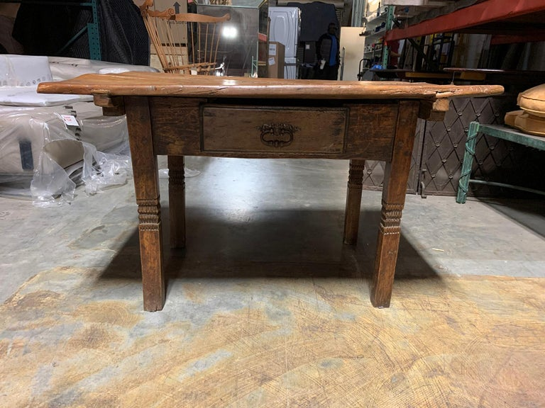 18th-19th century primitive table, probably French, one drawer Top lifts off, separate pieces.