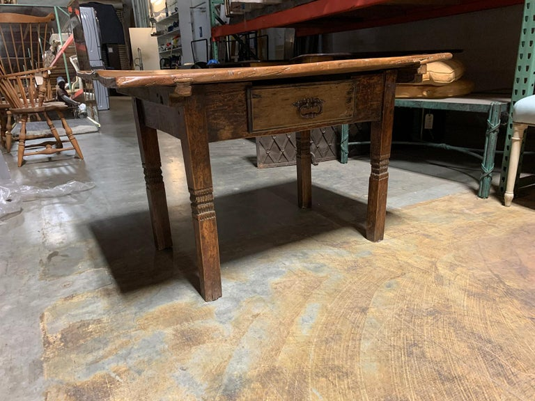 European 18th-19th Century Primitive Table, Probably French, One Drawer For Sale