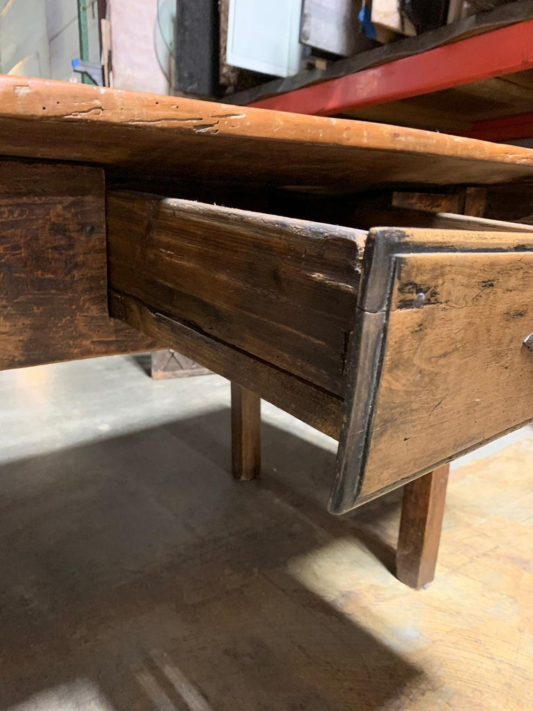 18th-19th Century Primitive Table, Probably French, One Drawer In Good Condition For Sale In Atlanta, GA