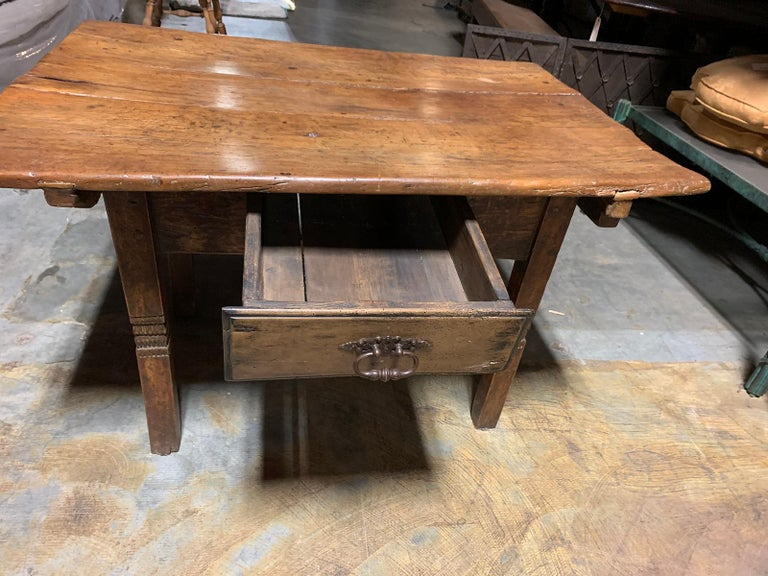 Wood 18th-19th Century Primitive Table, Probably French, One Drawer For Sale