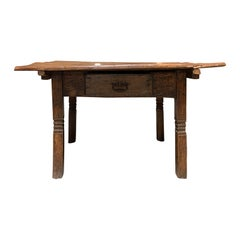 18th-19th Century Primitive Table, Probably French, One Drawer