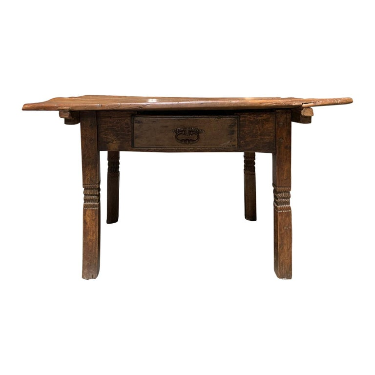 18th-19th Century Primitive Table, Probably French, One Drawer For Sale