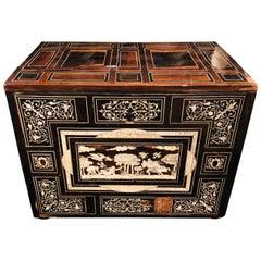 18th-19th Century Rosewood and Ebony Italian Table Cabinet, Box or Mini Trunk