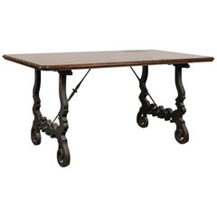 18th-19th Century Spanish Trestle Table with Iron Stretcher