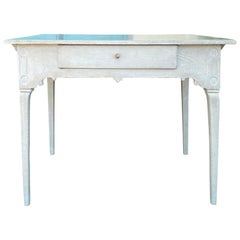 18th-19th Century Swedish Painted Pine Side Table with 1 Drawer, Custom Finish