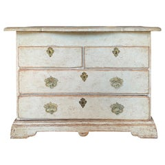 18th-19th Century Swedish Rococo Style Painted Chest with Scallop Edge Top