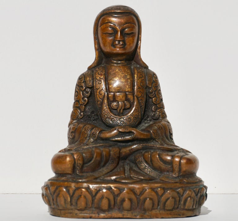 Metal 18th- 19th Century Tibetan Copper Alloy Bronze Lama Buddha with Silver Inlay For Sale