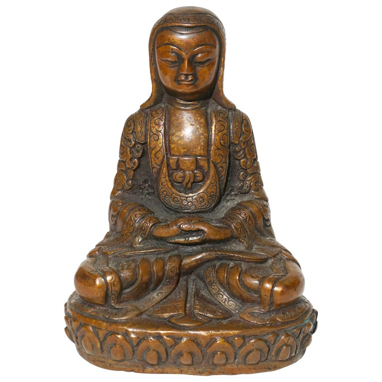 18th- 19th Century Tibetan Copper Alloy Bronze Lama Buddha with Silver Inlay For Sale