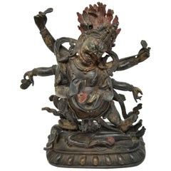 19th Century Tibetan Polychrome Lacquered Bronze Figure of 6-Armed Mahakala