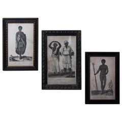 18th-19th Century Trio of Oceania and Pacific Islands Engravings Ebonized Frames