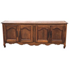 18th-19th Century Walnut and Cherry French Provincial 4-Door Enfilade