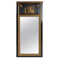 18th-19th Century French Gilded and Black Trumeau Mirror