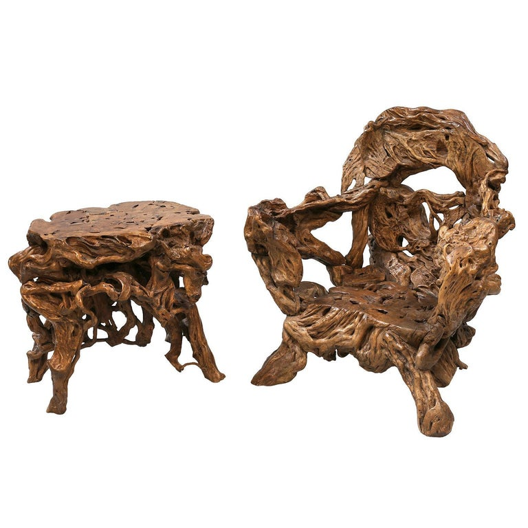 Other 18th and 19th Century Chinese Root Wood Art Chairs and Table Set For Sale