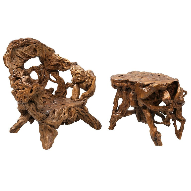 Hand-Crafted 18th and 19th Century Chinese Root Wood Art Chairs and Table Set For Sale