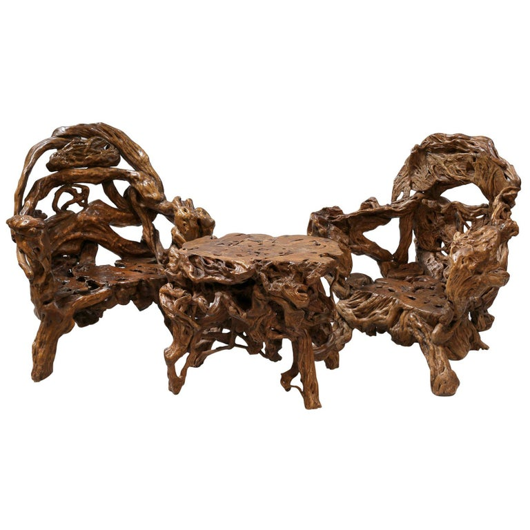 18th and 19th Century Chinese Root Wood Art Chairs and Table Set For Sale