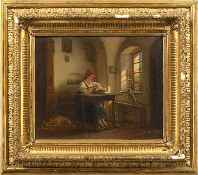 Interesting old painting representing an interior scene animated by a young woman sitting and reading a book. The room is radiated by a warm and grazing light that defines the volume of objects. This is an oil on canvas from the mid-19th century