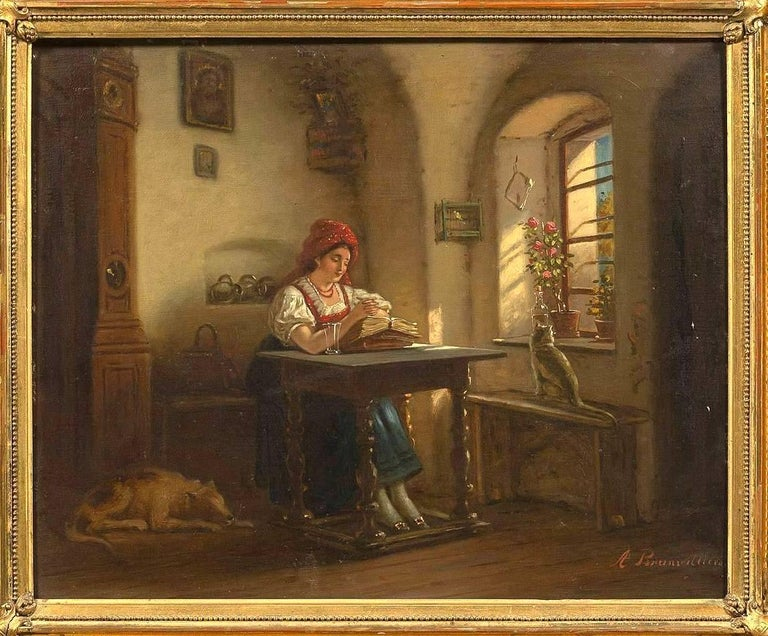 Romantic 18th Antique Painting Depicting a Signed Interior Scene Brunevilliers For Sale