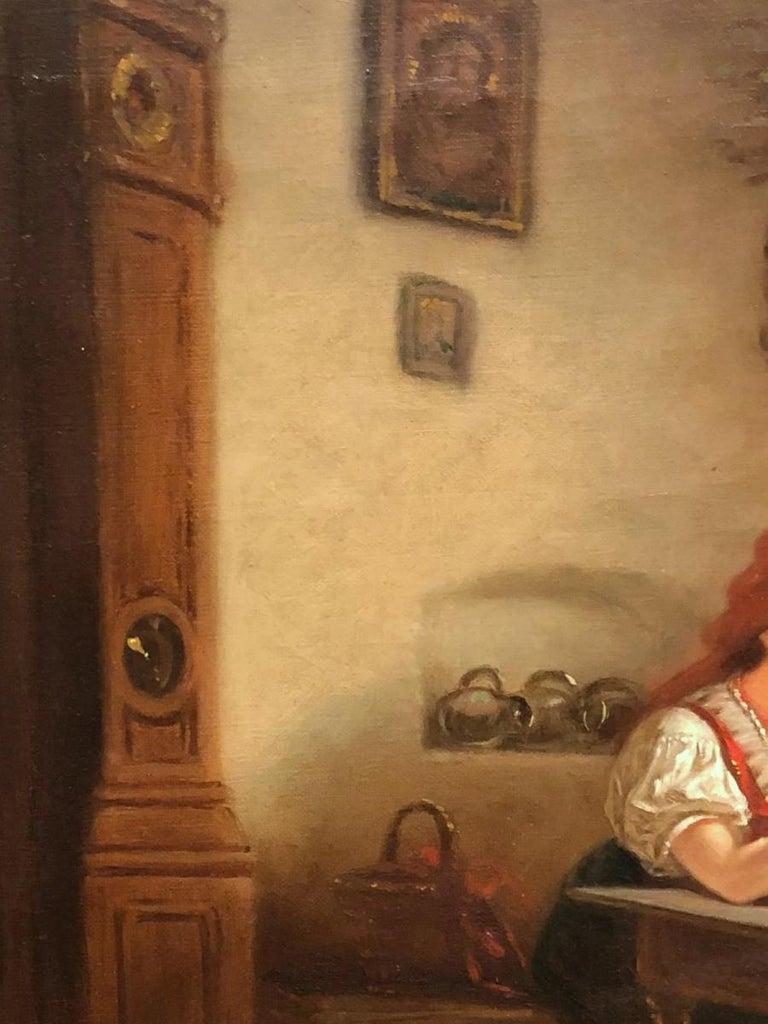 18th Antique Painting Depicting a Signed Interior Scene Brunevilliers In Fair Condition For Sale In Badia Polesine, Rovigo