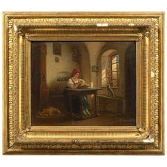 18th Antique Painting Depicting a Signed Interior Scene Brunevilliers