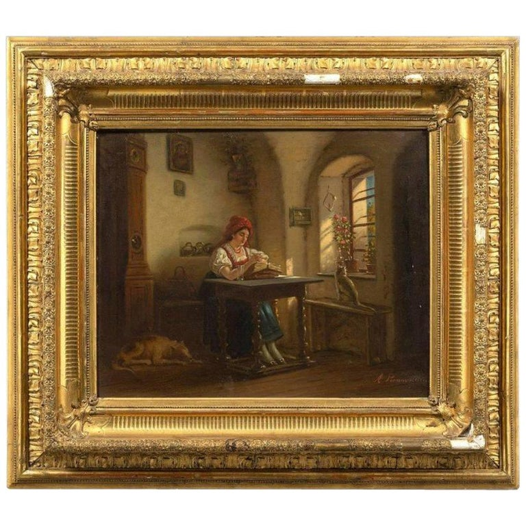 18th Antique Painting Depicting a Signed Interior Scene Brunevilliers For Sale