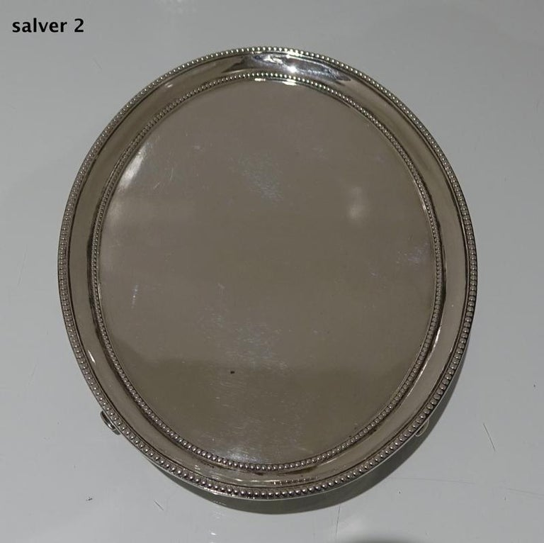 Antique George III Sterling Silver Pair of Salvers London 1781 Smith and Sharp For Sale 4