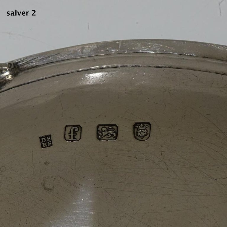 Antique George III Sterling Silver Pair of Salvers London 1781 Smith and Sharp For Sale 5