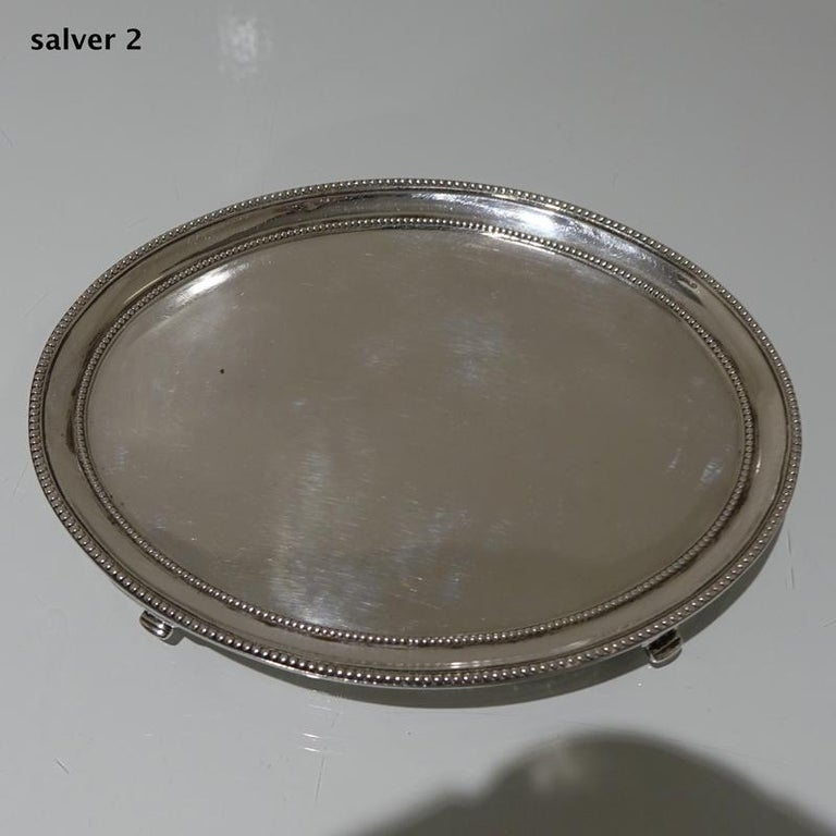 Antique George III Sterling Silver Pair of Salvers London 1781 Smith and Sharp For Sale 3