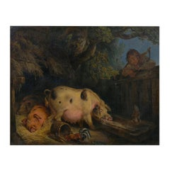 """""""Boy and Pigs Sty"""" British Antique Oil Painting, Circle of George Morland"""