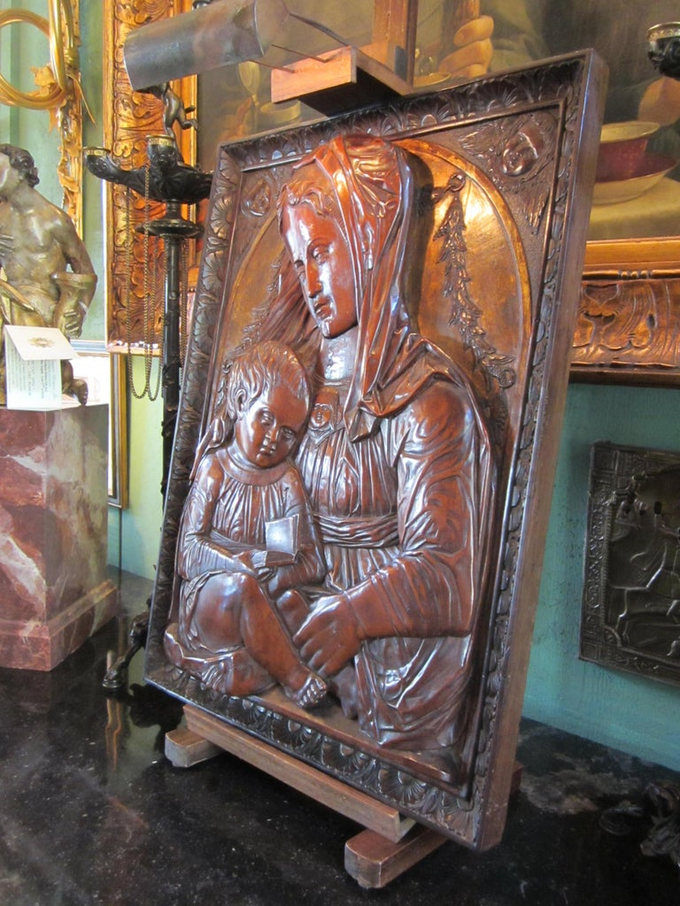 18th Century and Earlier Carved Fruitwood Plaque of Virgin and Child Madonna, after Donatello Sculpture For Sale