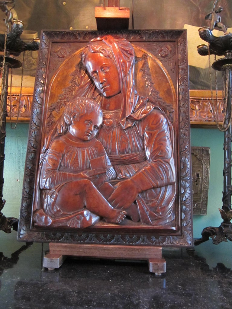 Wood Carved Fruitwood Plaque of Virgin and Child Madonna, after Donatello Sculpture For Sale