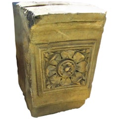 Hand Carved Stone Antique Garden Outdoor Indoor Side Center Coffee Table Base LA