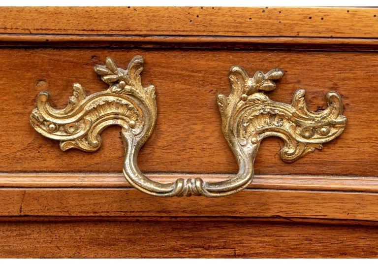 French 18th Century Carved Walnut Marble-Top Commode For Sale