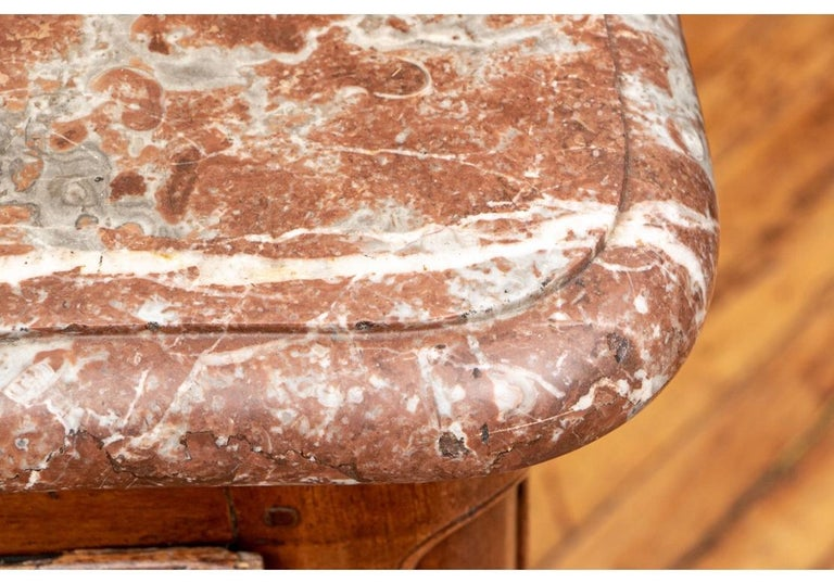 18th Century Carved Walnut Marble-Top Commode For Sale 3