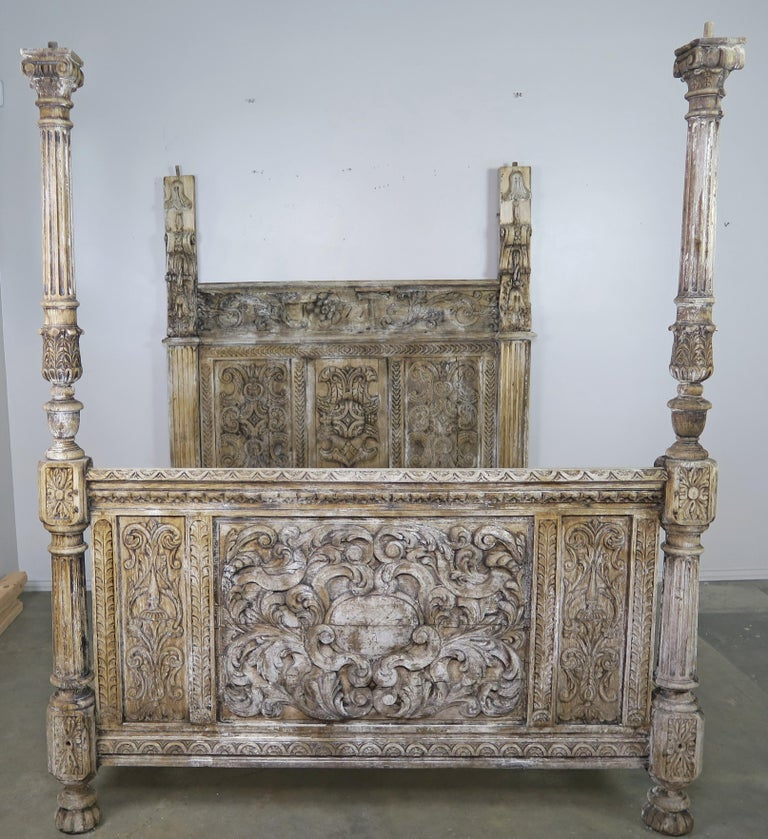 18th Century Carved Wood Four Poster Canopy Bed Frame For Sale 4