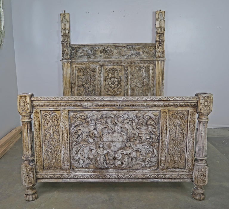 18th Century Carved Wood Four Poster Canopy Bed Frame For Sale 5