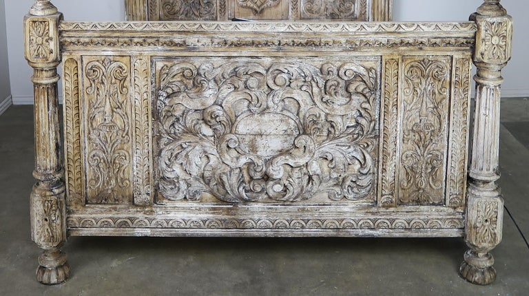 18th Century and Earlier 18th Century Carved Wood Four Poster Canopy Bed Frame For Sale