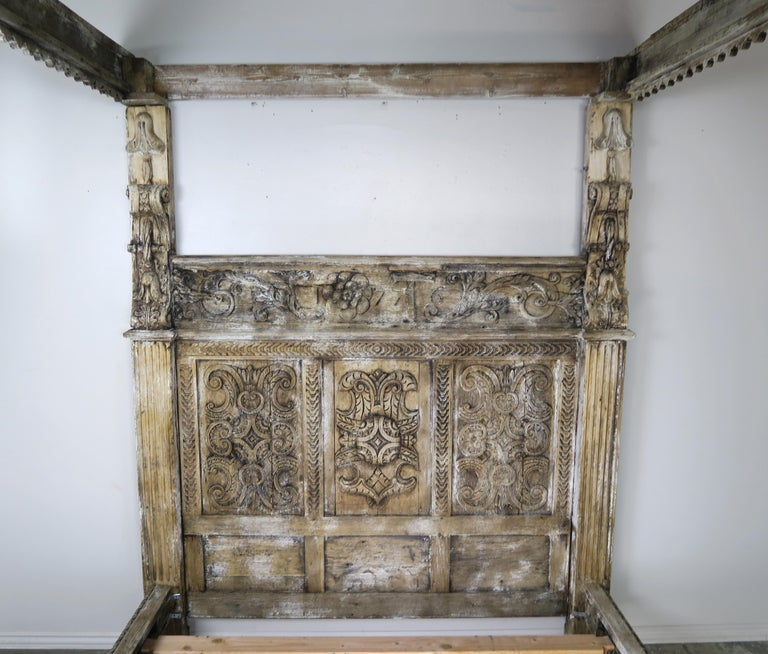 18th Century Carved Wood Four Poster Canopy Bed Frame For Sale 1