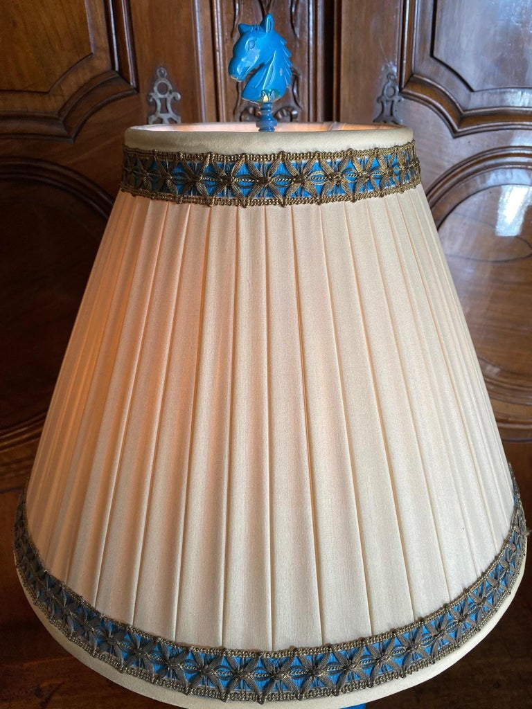 18th C. Table Lamp Ceramic Baluster Chinese blue Vase & Shade Finial Antiques LA For Sale 4